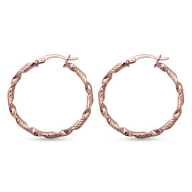 One TIme Close Out Deal-Italian Made - Rose Gold Overlay Sterling Silver Twisted Hoop Earrings (with