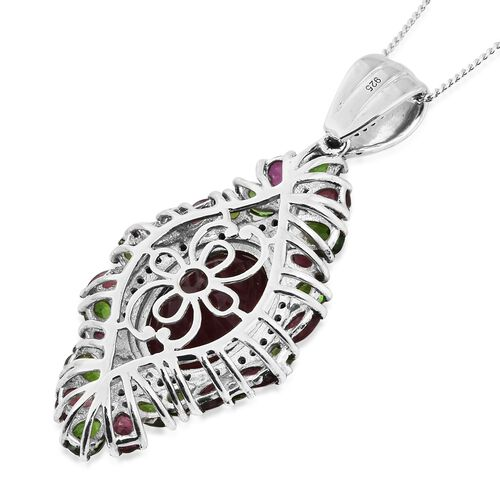 Limited Edition - Designer Inspired- Rare African Ruby (Ovl 14X10 8.20 Ct), Russian Diopside and Black Spinel Pendant with Chain in Platinum Overlay Sterling Silver 12.000 Ct. Silver wt 6.10 Gms.