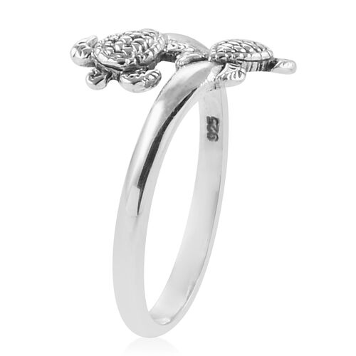 Royal Bali Collection Sterling Silver Turtle Crossover Ring
