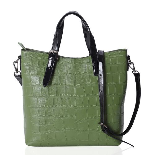 Forest Green100% Genuine Leather Croc Embossed Tote Bag with High Glossed Shoulder Strap (Size 28x27x10 Cm)