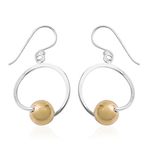Platinum and Gold Overlay Sterling Silver Hook Earrings, Silver wt 3.20 Gms.
