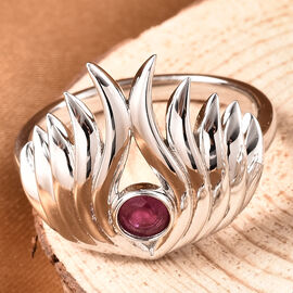 LucyQ Flame Collection - African Ruby Ring in Rhodium Overlay Sterling Silver