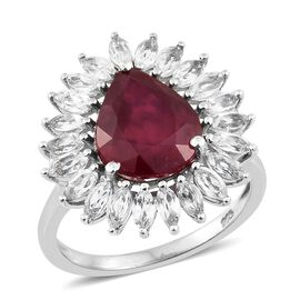 7.50 Ct African Ruby and White Topaz Halo Ring in Platinum Plated Silver
