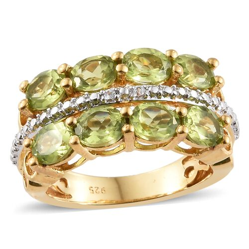Hebei Peridot (Ovl), Natural Cambodian Zircon Ring in 14K Gold Overlay Sterling Silver 3.000 Ct. Silver wt 5.29 Gms.