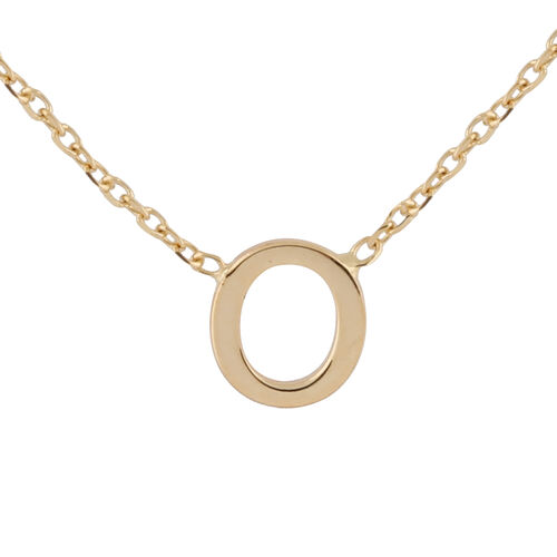 Hatton Garden Close Out - 9K Yellow Gold Initial O Necklace (Size 15 with 2 Inch Extender)