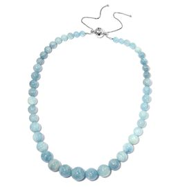 Espirito Santo Aquamarine (Rnd) Adjustable Beads Necklace (Size 18 - 22) in Rhodium Overlay Sterling Silver 339.001  Ct, Silver wt 5.00 Gms.