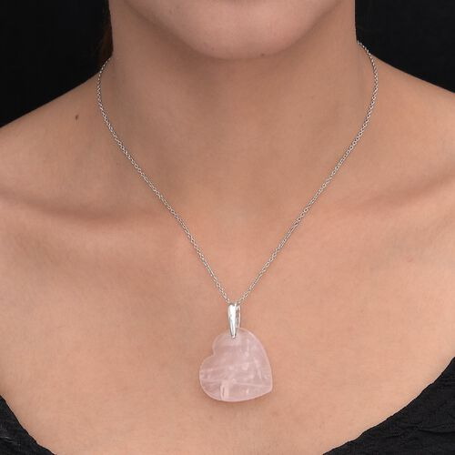 Rose Quartz Heart Pendant in Platinum Overlay Sterling Silver 47.00 Ct.