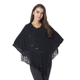 Hollow - Out Round and Wavy Pattern Poncho with Tassels (Size 70x65 Cm) Colour Black