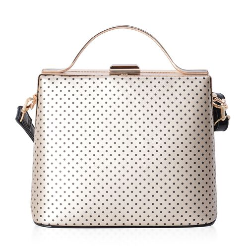 Boutique Collection Vintage Style Polka Dot Golden Colour Handbag with Removable Shoulder Strap (Size 22x18x14 Cm)