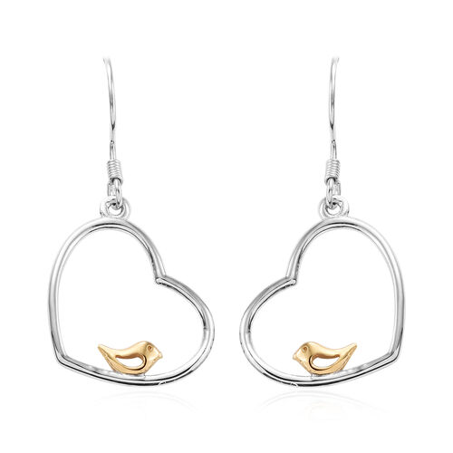 Platinum and Yellow Gold Overlay Sterling Silver Perching Birds Lever Back Earrings
