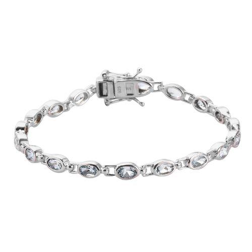 Santa Teresa Aquamarine Bracelet (Size 7) in Platinum Overlay Sterling Silver 3.60 Ct, Silver wt. 8.