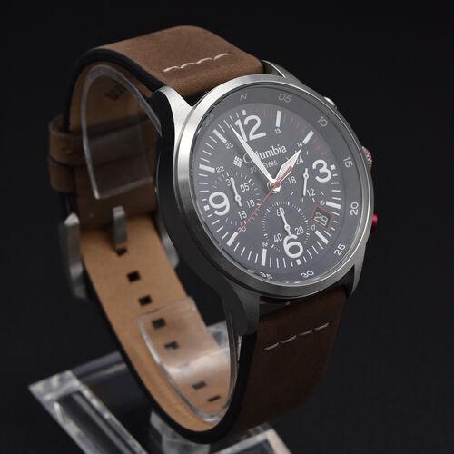 Columbia Canyon Ridge Navy Chronograph Date Saddle Leather Watch