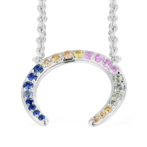 RACHEL GALLEY - Rainbow Sapphire Horseshoe Necklace (Size 16) in Rhodium Overlay Sterling Silver 0.74 Ct.