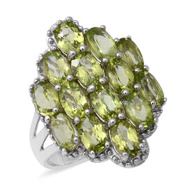 7 Ct Hebei Peridot Cluster Cocktail Ring in Sterling Silver 6.90 Grams