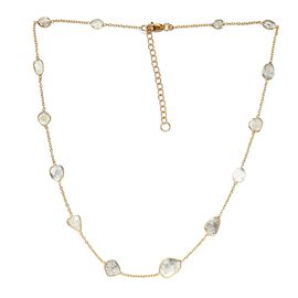 Artisan Crafted Polki Diamond Necklace (Size 18 with 2 inch Extender) in 14K Gold Overlay Sterling S