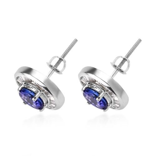ILIANA 18K White Gold AAA Tanzanite (Rnd) and Diamond Earrings (with Screw Back) 1.75 Ct.