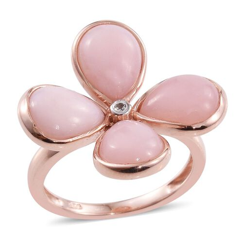 Natural Peruvian Pink Opal (Pear), White Topaz Floral Ring in Rose Gold Overlay Sterling Silver 5.500 Ct.
