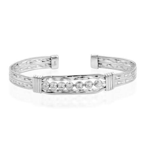 Designer Inspired- Diamond Cut Sterling Silver Cuff Bangle (Size 8), Silver wt 18.60 Gms.