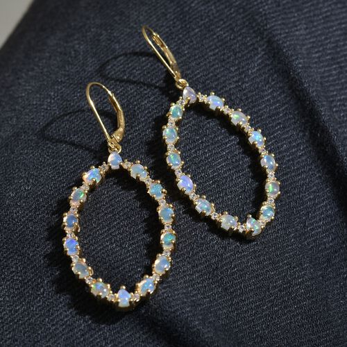 Ethiopian Welo Opal (Ovl), Natural Cambodian Zircon Lever Back Earrings in 14K Gold Overlay Sterling Silver 3.250 Ct. Silver wt 6.20 Gms.