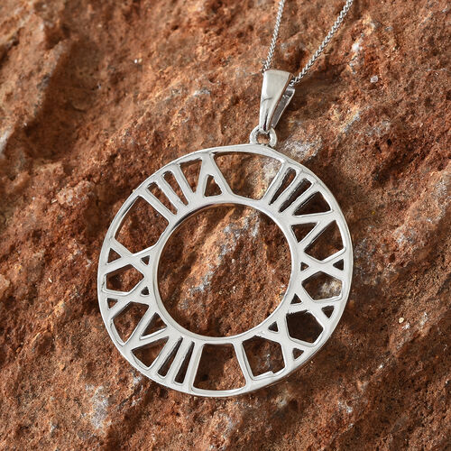 Platinum Overlay Sterling Silver Roman Number Inspired Pendant With Chain(Size 20), Silver wt 4.38 Gms.