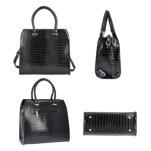 Croc Embossed Satchel Bag with Zipper Closure and Detachable Shoulder Strap (Size 32x12x28 Cm) - Black