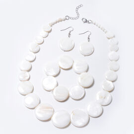 3 Piece Set - White Shell Necklace (Size 18 with 2 inch Extender), Stretchable Bracelet (Size 7) and