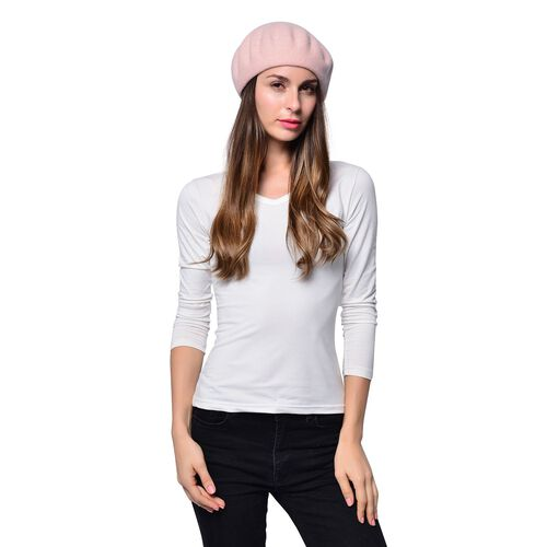 MILANO COLLECTION - 90% Merino Wool Pink Ladies Beret