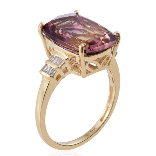 Collectors Edition - 9K Y Gold AA Anahi Ametrine (Cush 6.25 Ct), Diamond Ring 6.350 Ct.