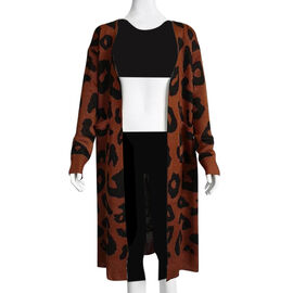 Kris Ana Animal Print Longline Wool Cardigan One Size (8-18) - Brown
