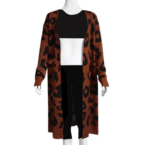 Kris Ana Animal Print Longline Wool Cardigan One Size (8-18) - Brown