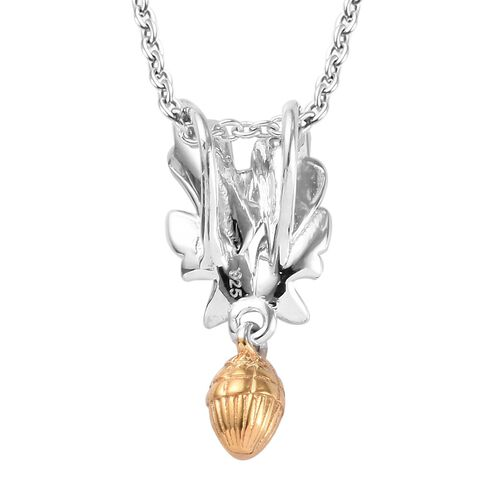 Platinum and Yellow Gold Overlay Sterling Silver Acorn and Leaf Pendant with Chain (Size 18)
