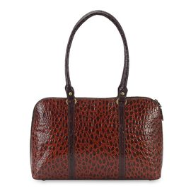 100% Genuine Leather Shoulder Bag (Size 38x22.89x9 Cm) - Chocolate Brown and Brown