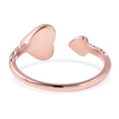 RACHEL GALLEY Rose Gold Overlay Sterling Silver Heart Open Ring