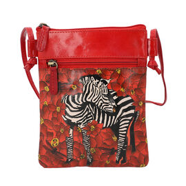 SUKRITI 100% Genuine Leather Traditional Hand Painted Zebra Crossbody Bag (Size:15.75x19.81cm) with