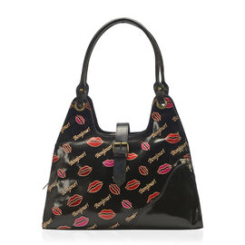 Sukriti 100% Genuine Leather Black Colour Bonjour (Hello) and Lip Pattern Handbag with External Zipp