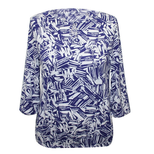 Aura Boutique Supersoft Blue Printed Top (Size S)