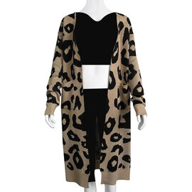 Kris Ana Animal Print Longline Wool Cardigan One Size (8-18) - Beige