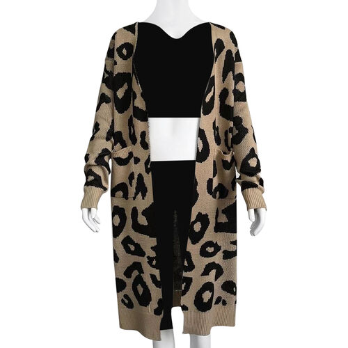 Kris Ana Animal Print Longline Wool Cardigan One Size (8-18) - Beige