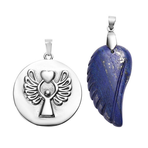 2  Piece Set - Lapis Lazuli Angel Pendant with Chain (Size 24 with 2 inch Extender) in Stainless Steel 41.30 Ct.