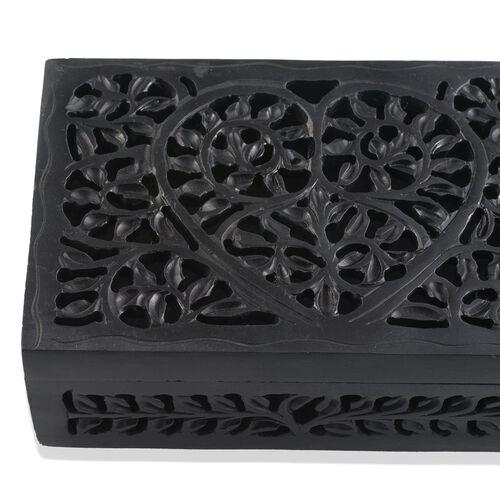 Hand Made Jali Cutout Work Rectangular Black Soapstone Box (Size 6x4x2 inch)