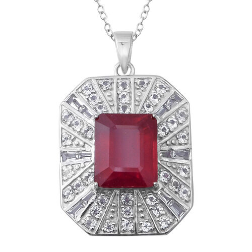 African Ruby (Oct 9.51 Ct), White Topaz Pendant With Chain (Size 18)in Sterling Silver 12.040 Ct, Si