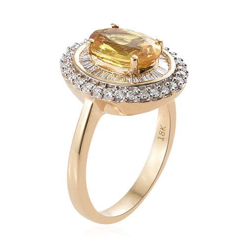Collectors Edition - ILIANA 18K Yellow Gold  Loupe Clean AAA Chanthaburi Yellow Sapphire (Rare Size Ovl 9x7mm, 2.25 Ct) and Diamond (SI/G-H) Ring 2.750 Ct. Gold wt 5.31 Gms.