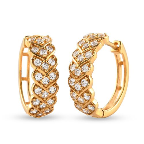 J Francis 14K Gold Overlay Sterling Silver Full Hoop Earrings (with Clasp) Made with SWAROVKSI ZIRCO