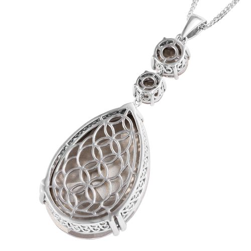 J Francis Crystal from Swarovski - AB Crystal (Rnd and Pear) Pendant With Chain (Size 20) in Platinum Overlay Sterling Silver, Silver wt 11.88 Gms.