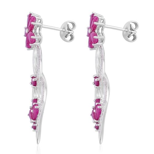 Burmese Ruby (Pear), Natural White Cambodian Zircon Flower Earrings (with Push Back) in Rhodium Plated Sterling Silver 5.225 Ct.