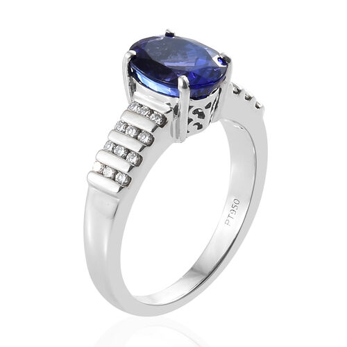 RHAPSODY 950 Platinum AAAA Tanzanite (Ovl), Diamond (VS/E-F) Solitaire Ring 3.000 Ct, Platinum wt 7.10 Gms.