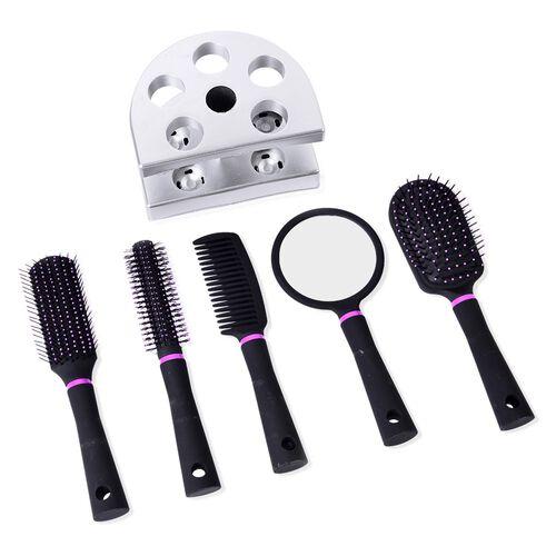 Set of 5- Black Colour Salon Hair Comb with Mirror