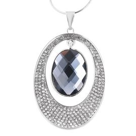Simulated Grey Spinel and White Austrian Crystal Circel Pendant with Chain in Silver Tone