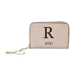 Genuine Leather Alphabet R Wallet with Engraved Message on Back Side (Size 11X7.5X2.5 Cm) - Gold