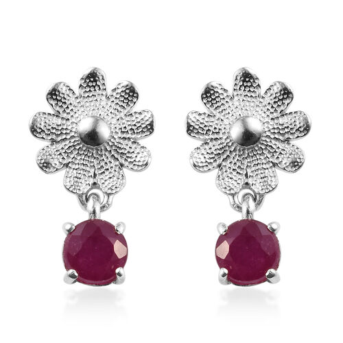 African Ruby (Rnd) Floral Earrings in Platinum Overlay Sterling Silver 1.25 Ct.